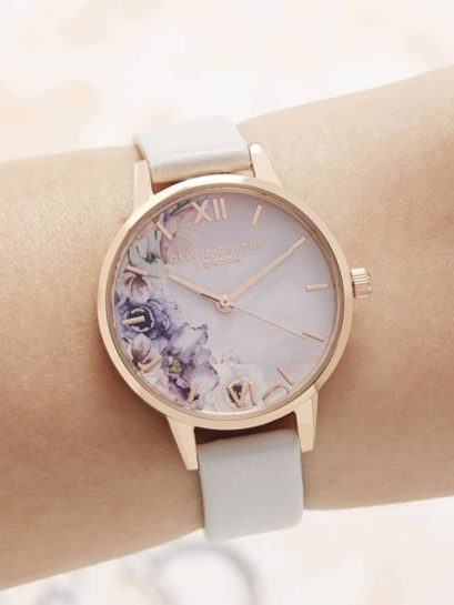 Olivia Burton Watercolour Florals Gold Plated Midi Dial Blush Leather Strap Watch