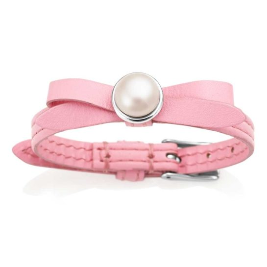 Jersey Pearl Pink Leather bracelet with Freshwater Pearl