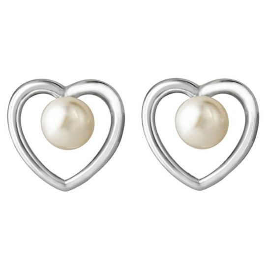 Jersey Pearl silver heart stud earrings with freshwater pearls