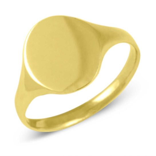9ct gold oval plain signet ring