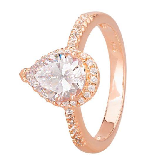Starbright Rose Pear Cut Cubic Zirconia Halo Shouldered Ring