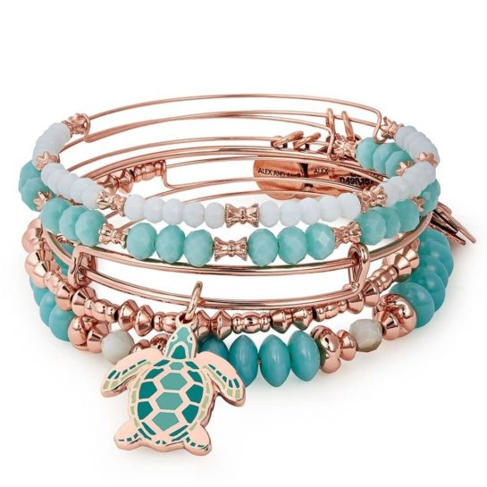 Alex and Ani rose gold plated go with flow colour infusion bangle set