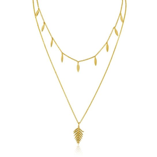Ania Haie Tropic Thuder Gold Plated Multi Leaf Two Row Necklet