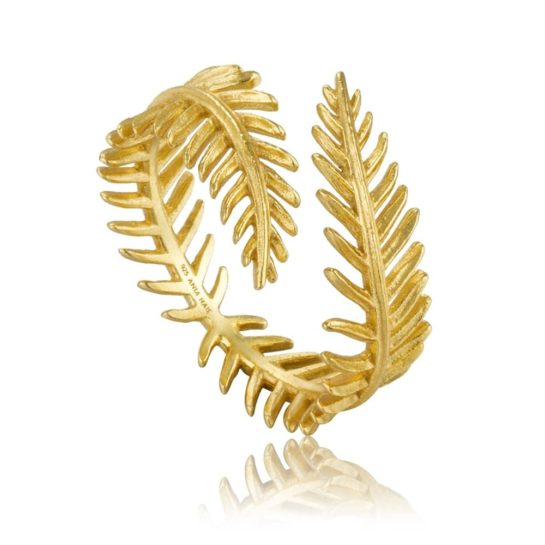 Ania Haie Tropic Thunder Gold Plated Leaf Adjustable Ring