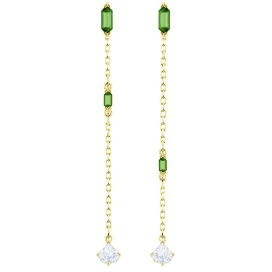 Swarovski Gold Plated Clear and Green Crystal Dropper Earrings