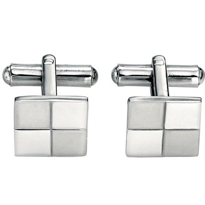 Fred Bennett Stainless Steel Square Matt Polished Cufflinks