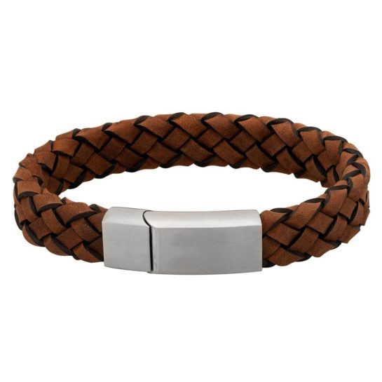 Bourne & Wilde Mens Thick Brown Leather Plaited Bracelet