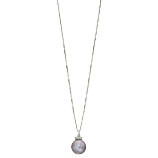 9ct White Gold Grey Freshwater Pearl and Diamond Pendant