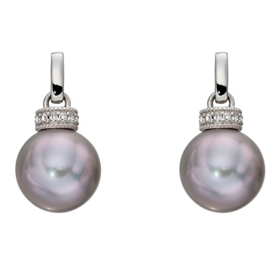 White Gold Grey Freshwater Pearl and Diamond Stud Earrings