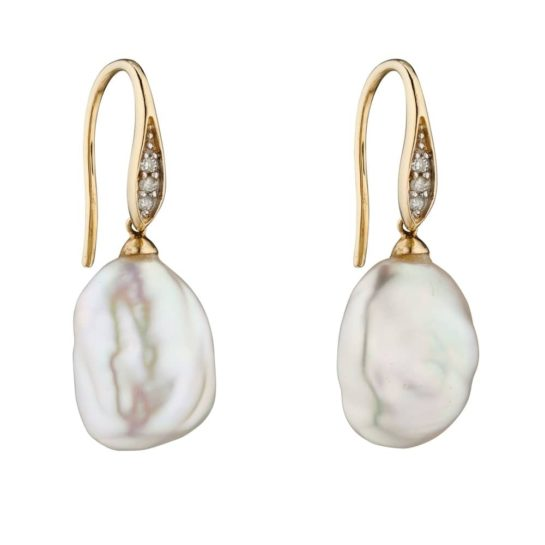 9ct Yellow Gold Baroque Pearl and Diamond Earrings