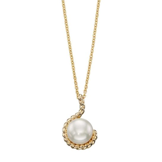 9ct Yellow Gold Pearl Rope Dropper Pendant