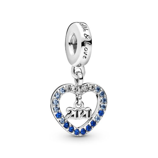 New Year's Eve charm with 2020 inside blue sparkly heart