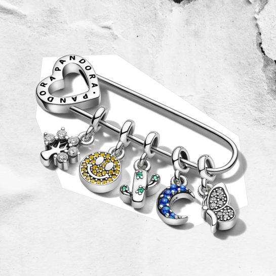 Pandora Me Safety pin brooch with charms