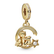 gold tone dangle charm with cherub sitting on a shooting star