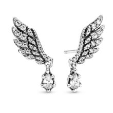silver earrings with angel wings and sparkly dangle stone