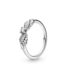 silver ring with angel rings and cubic zirconia centre stone