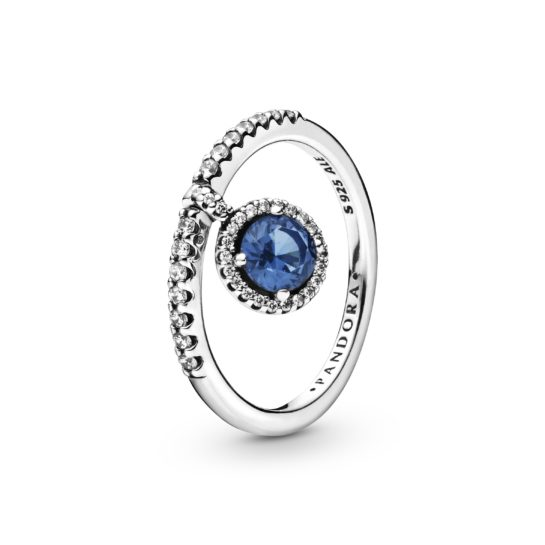 sparkly Pandora ring with blue dangling stone