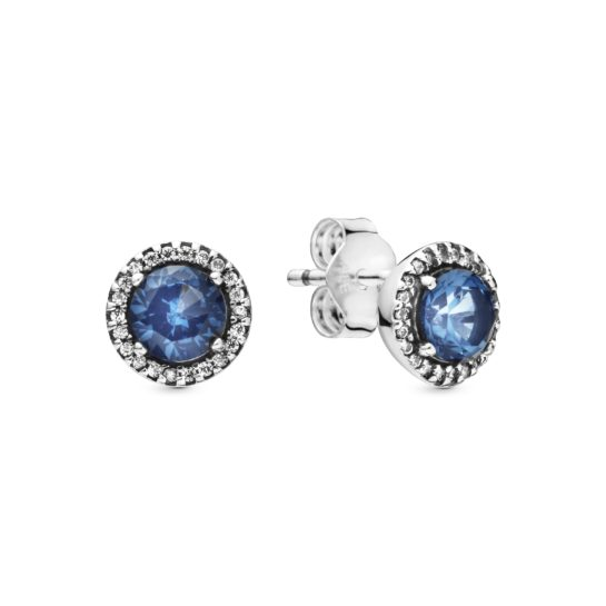 silver stud earrings with blue centre stone and cubic zirconia halo