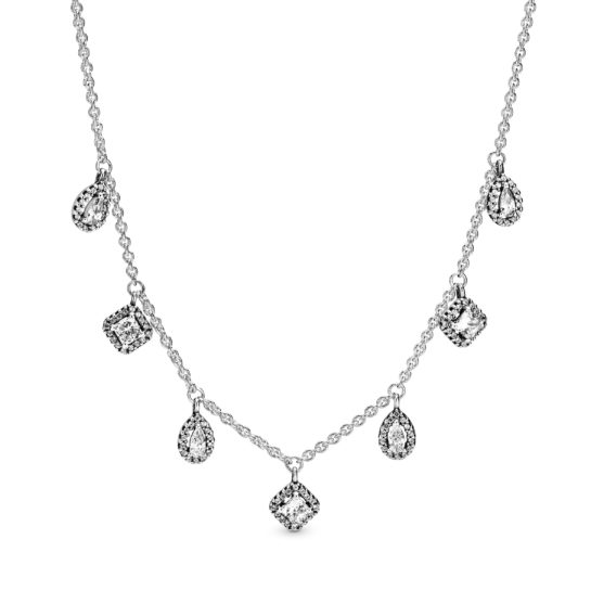 silver necklace with geometric cubic zirconia shapes