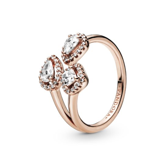 rose gold toned open ring with three geometric cubic zirconia shapes
