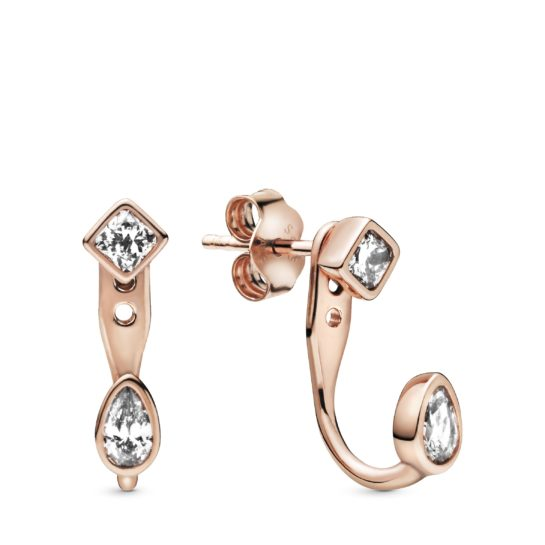 rose gold tone studs with geometric cubic zirconia
