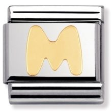 silver and gold letter M charm