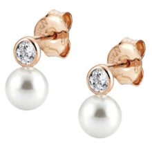 rose gold dropper earrings with cubic zirconia centrepiece