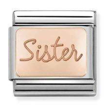 silver and rose gold nomination charm for sister
