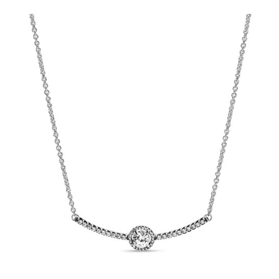 silver bar necklace with centre round cubic zirconia stone