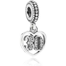 silver dangle charm with the number 30