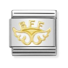 Nomination charm link with gold BFF angel wings