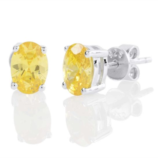Silver stud earrings with light yellow citrine stones