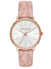 Michael Kors rose gold-plated watch with pink strap with MK logo pattern and white dial.