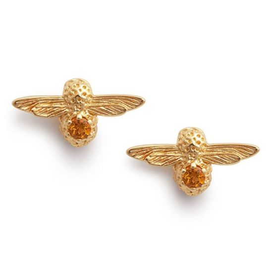 Gold-plated bee-shaped stud earrings with citrine stones