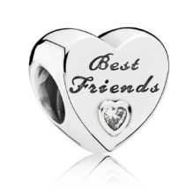 Silver 'Best Friends' Pandora Moments charm with a cubic zirconia stone