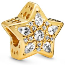 Gold-plated star-shaped charm with cubic zirconia accents
