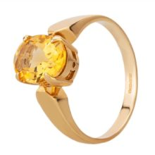 gold solitaire ring with citrine stone