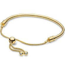 gold-tone Pandora moments bracelet with an adjustable sliding clasp