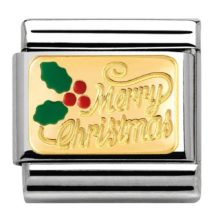 Nomination charm with gold Merry Christmas and holly leaves