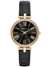 Gold plated Michael Kors watch with black dial and leather straps.
