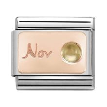 silver and rose gold composable Nomination charm with 'Nov' engraving and small citrine stone