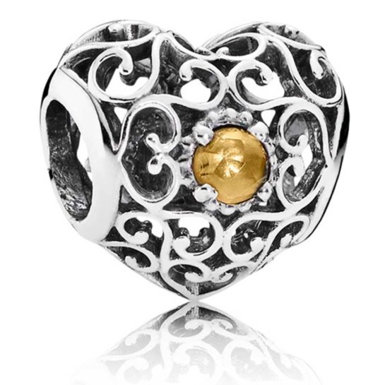 Silver heart shaped Pandora charm with centre citrine stone