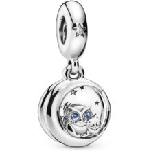 sterling silver pendant Pandora charm with two owls