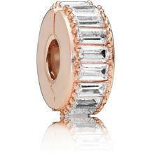 rose-tone clip charm with baguette-style cubic zirconia stones