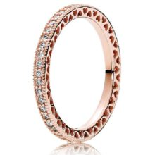 Rose-tone eternity ring with cubic zirconia