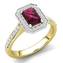 Gold ring with baguette-cut ruby and diamond shoulders