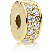 gold-plated Pandora clip charm with cubic zirconia stones
