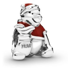 Sterling silver Winnie the Pooh Disney Pandora charm with red enamel detailing