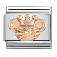 stainless steel Nomination charm link with the face of a rat wearing a crown crafted in rose gold.