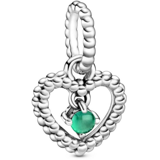 May birthstone dangle charm with a beaded-style heart shape holding a centre green stone